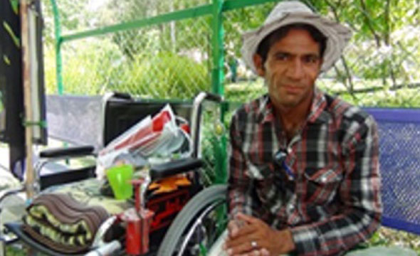 جوان معلول ، همدان تا شیراز را رکاب زد